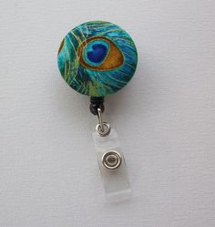 Retractable ID Badge Holder Reel   Fabric Button  by Laa766, $6.00