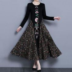 FABRIC: Polyester Brand: No Specification: Sleeve Length:Long Sleeve Neckline:O-neck Color:Black Style:Elegant,Vintage,Fashion Length:Ankle-length Pattern:Floral Material:Polyester Season:Spring,Autumn,Winter Packageincluded: Modest Dresses, Nice Dresses, Cheap Birthday Gifts, Patchwork Dress, Floral Embroidery, Vintage Embroidery, Chic Outfits, Latest Fashion Trends, Beautiful Outfits