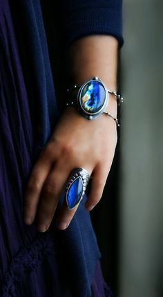 Labradorite and Sterling Silver Bracelet and Ring, by MercuryOrchid