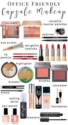 Office Friendly Capsule Makeup Collection - I've put together a versatile neutral makeup wardrobe perfect for the conservative office environment so that you won't be bored to tears. You'll be able to use these items for everyday work makeup or job interv Makeup List, Makeup Guide, Makeup Ideas, Makeup Jobs, Prom Makeup, Makeup Inspiration, School Looks, Cute Makeup, Gorgeous Makeup
