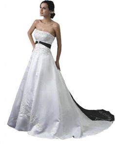 Dearta Womens ALine Strapless Court Train Wedding Dress US 18 Ivory -- Click image to review more details.
