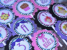 Fancy Nancy Birthday Party Cupcake Toppers - Zebra print