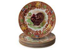 English Turkey Dinner Plates, Set of 8 - Enoch Woods
