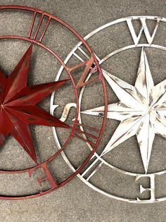 Compass rose star metal wall decor