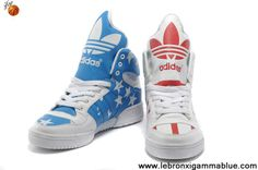 sale retailer b8605 b78fa Best Gift Adidas X Jeremy Scott Big Tongue USA Flag Shoes Shoes Store  Lebron 11,