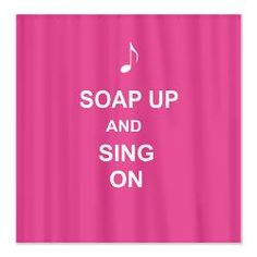 hot pink keep calm and sing in the shower funny shower curtain