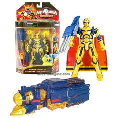 """Bandai Power Rangers Mystic Force Series 7"""" Tall Figure - SOLARIS KNIGHT to LEGENDARY LOCOMOTIVE with Blasters and Gun"""