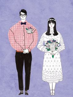 'Wedding' by Kim Hyerim Wedding Illustration, Couple Illustration, Portrait Illustration, Illustration Artists, Illustrator Tutorials, Couple Portraits, Cute Characters, Illustrations And Posters, Cartoon Drawings