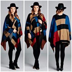 Velzera Cape OS Multicolored Boho Chic Hippie Colorblock Oversized Shawl Poncho #Velzera #Poncho