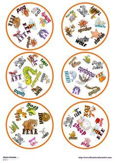 Une version du célèbre jeu de DOBBLE sur le thème des animaux en anglais. Jenny Lee, Class Activities, Ladybug, Evaluation, Equipment, Images, Cycle 2, Montessori, French