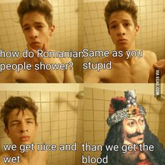 Funny Memes – [How Romanians Shower…] Stupid Funny Memes, Haha Funny, Hilarious, Lol, Funny Stuff, Funny Images, Funny Pictures, Funny Pics, Dankest Memes
