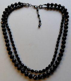Jet Black Glass Double Strand Necklace by onetime on Etsy, $6.25