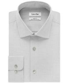 Calvin Klein Steel Men's Classic-Fit Non-Iron Performance Solid Dress Shirt - Gray 16.5 36/37