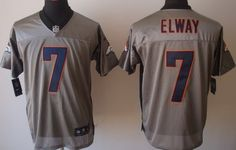 Nike Denver Broncos #7 John Elway Gray Shadow Elite Jersey