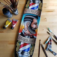 """Barber shop"" Traditional art, Acrylic on skateboard Barber Poster, Barber Logo, Barber Shop Decor, Barber Store, Barber Tattoo, Master Barber, Barbershop Design, Barber Supplies, Salon Art"