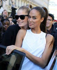 Doutzen Kroes and Joan Smalls at Paris Fashion Week