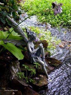 Fairy Statue In Running Stream/water Garden(Dianau0027s). Iu0027m Not A Huge Fan Of  Statueu0027s In A Garden Because I Like Country Gardens But If You Let It  Overgrow ...