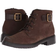 Munro Bradley (Brown Tumbled Nubuck) Women's Lace-up Boots ($246) ❤ liked on Polyvore featuring shoes, boots, ankle boots, brown ankle boots, laced boots, lace-up ankle boots, short boots and side zip boots