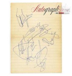 The Rolling Stones Autographs 1966 Brian Jones, Mick Jagger, Keith Richards, Bill Wyman & Charlie Watts