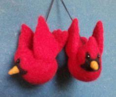 Roly Poly Cardinal Ornament  Beginning Needle Felting by DebFeltIt, $35.00