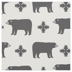 Trendy Tribal Bear Fabric - animal gift ideas animals and pets diy customize