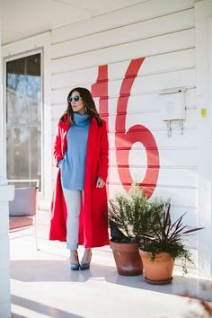 Cherry red coat via Boho Style File (at Art and Light Gallery) // yeahTHATgreenville