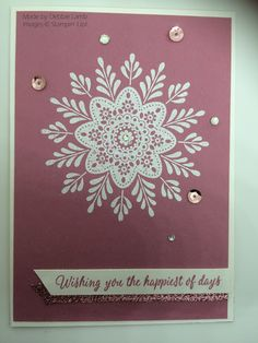 I've cased this card from Terri Mongeon and it's my favourite one using the stamp set Frosted Medallions from the Holiday Catalogue. Card Making Inspiration, Yule, Scrapbooks, Frost, Lamb, Stampin Up, Card Ideas, Christmas Cards, Mandala