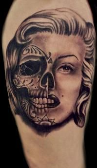Love the concept different sugar skull and faded into face more