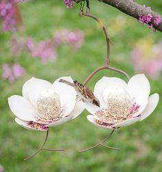 Steel Art Double Magnolia Bird Feeder