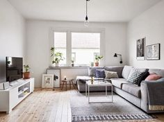 Small Apartment Design in Sweden That Has Been Renovated Home Living Room, Living Room Designs, Living Room Decor, Sofa Design, One Bedroom Flat, Small Apartment Design, Dream Decor, Living Room Inspiration, Home Interior Design