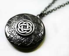 Celtic Knot Locket in Gunmetal by robinhoodcouture on Etsy, $28.00