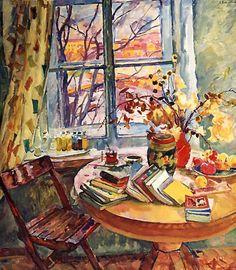 Books at the Window, 1963. Evgenia Petrovna Antipova (Russian artist, 1917-2009)
