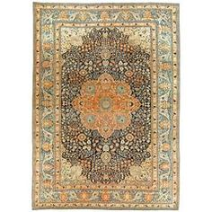 Persian Mohtashem Kashan Rug | From a unique collection of antique and modern persian rugs at https://www.1stdibs.com/furniture/rugs-carpets/persian-rugs/
