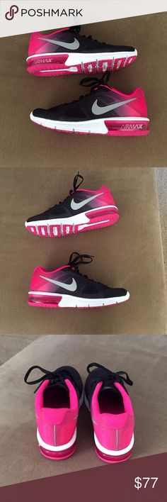 Nike Sequent Air Max Women's hot pink and black Nike Sequent Air Max. Bought online from Macy's and worn only once. Threw away box. I LOVE these shoes! I am so sad that they do not work for what I need them for, which is lifting. I need a more structured shoe. :( Price is FIRM! Nike Shoes