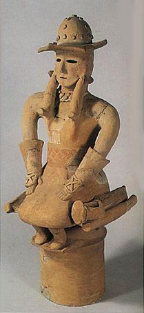 The Kofun period (AD.250–AD.592) art,Haniwa terracotta clay figure. Sit down nobleman. Gunma Japan.