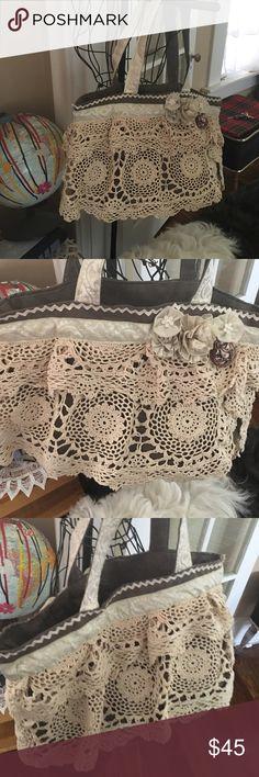 "Handmade Bohemian Ruffle Doily Bag Repurposed vintage donkeys 17x12"" 12"" Handel Drop Vintage Bags Totes"