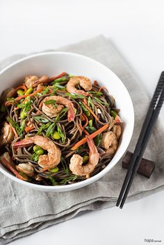 Stir-fried Shrimp, Carrots, and Edamame over a bed of Soba Noodles.  A quick and easy meal that's healthy and delicious.