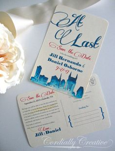 Nashville Skyline Watercolor Save the Date Postcard on Ivory Linen Card stock for wedding, engagement, party, and more