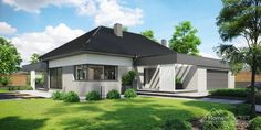 Projekt domu HomeKONCEPT-68 | HomeKONCEPT Village House Design, Village Houses, Beautiful House Plans, Beautiful Homes, Modern Bungalow Exterior, Single Story Homes, Dream House Plans, Living Room Modern, Modern House Design