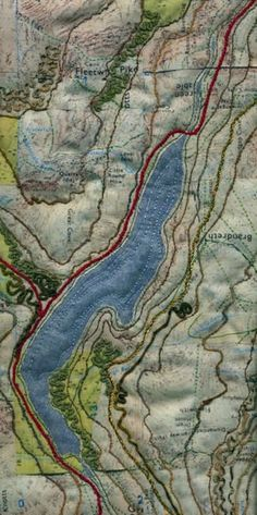 art quilt maps | Ullswater map art quilt by Mary Bryning | Needle Arts