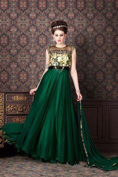 Green #Net #Anarkali Salwar Kameez with Work
