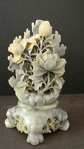 ANTIQUE CHINESE SOAPSTONE CARVING of FLOWERS