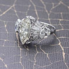 Stunning Retro Moderne Marquise Diamond Ring. 2.83 ct center marquise cut diamond.