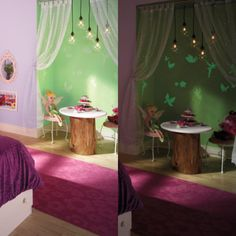 Ready, set, glow! Apply this bright new finish over any paint job to create cool shapes & designs that glow in dark. This Tinker Bell-inspired room goes flawlessly from day to night!