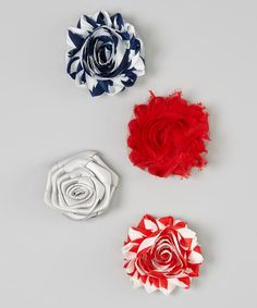 Take a look at the Red Shabby Flower Clip Set on #zulily today!
