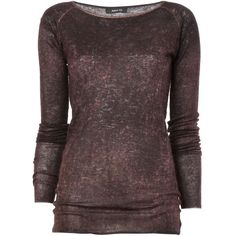 Avant Toi Round Neck Distressed Sweater ($506) ❤ liked on Polyvore featuring tops, sweaters, red sweater, destroyed sweater, ripped sweater, round neck top and red top