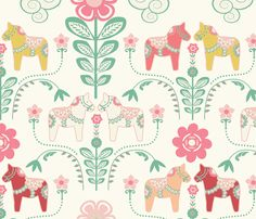 dala_horse_pastel_rose ecru_L custom fabric by nadja_petremand for sale on Spoonflower Scandinavian Quilts, Scandinavian Design, Horse Fabric, Print Patterns, Sewing Patterns, Pastel Roses, Custom Fabric, Craft Projects, Kid Crafts