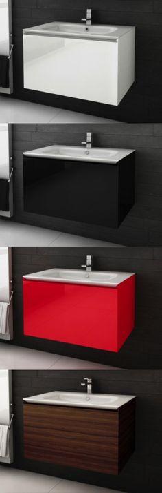 """Vanités de salle de bain <Série Cube> 48"""" avec lavabo intégré - AQUA MOBILIA. Disponible chez Montréal - Les - Bains Cubes, Aqua, Floating Nightstand, Table, Furniture, Home Decor, Trough Sink, Budget, Homemade Home Decor"""