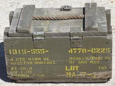 old wood ammo box w/ rope handle, lettered for ammunition for mortars