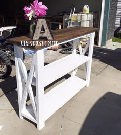 Rustic Home Decor | Ana White | Entry Way | Console Table | Coffee Bar | DIY | Shanty 2 Chic | Rustic | Shabby Chic | Coffee Table | Living Room | Reclaimed Wood | Salvaged Wood | Living Room Ideas | End Tables | Industrial Decor